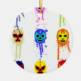 Lucha Libre Mask Mexican Wrestling Paint Drip Christmas Ornament