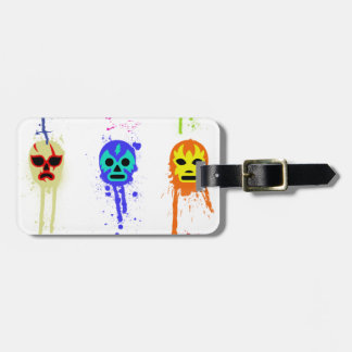 Lucha Libre Mask Mexican Wrestling Paint Drip Luggage Tag