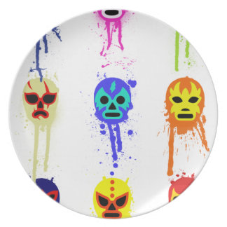 Lucha Libre Mask Mexican Wrestling Paint Drip Plate