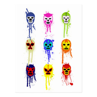 Lucha Libre Mask Mexican Wrestling Paint Drip Postcard