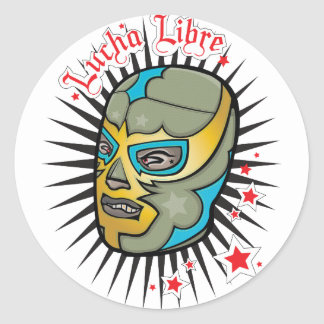 Lucha Libre Mexican Wrestling Mask Classic Round Sticker