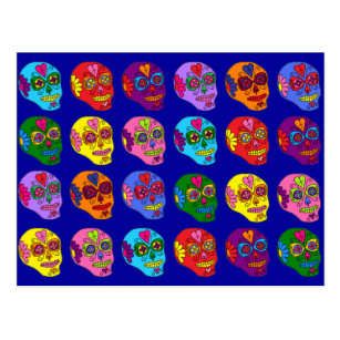 Lucha Libre Sugar Skulls Postcard
