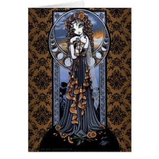 Lucia Gothic Flower Moon Fairy Art Greeting Card
