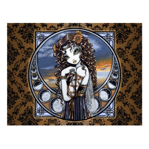 """Lucia"" Gothic Flower Moon Fairy Art Postcard"