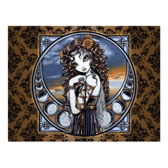 """Lucia"" Gothic Flower Moon Fairy Art Postcard"