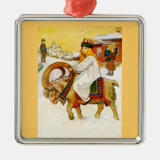 Lucia Riding a Christmas Goat Silver-Colored Square Decoration