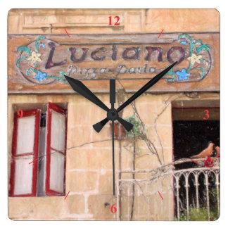 Luciano's Pizza Square Wall Clock