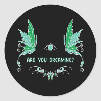 Lucid dreaming reality check sticker. classic round sticker