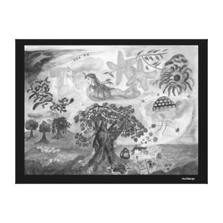 Lucid dreams - flying in the sea -black and white canvas print