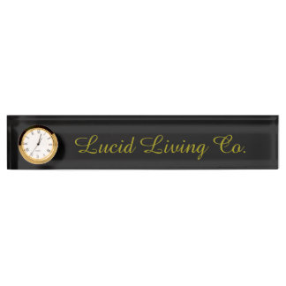 Lucid Living Co. Desk Nameplate with Clock