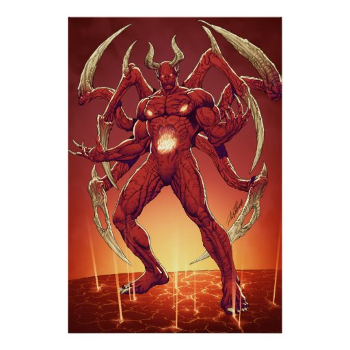 Lucifer the Devil, the Prince of Darkness, Satan Print