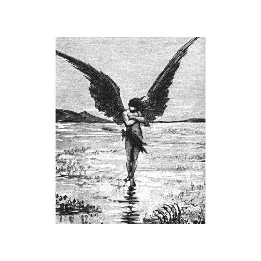 Lucifero Satan Devil Angel Charcoal Illustration Gallery Wrap Canvas