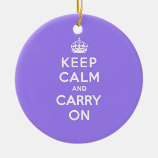Lucious Lavender Keep Calm and Carry On Round Ceramic Decoration