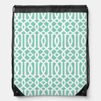Lucite and White Modern Trellis Pattern Drawstring Bag