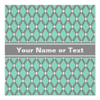 Lucite Green Diamonds- Gray Frames Invitation