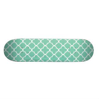Lucite Green White Quatrefoil Moroccan Pattern Custom Skate Board
