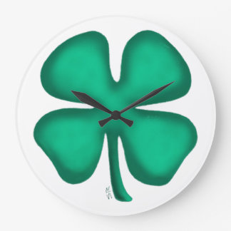 Luck 4 Leaf Irish Clover large wall clock