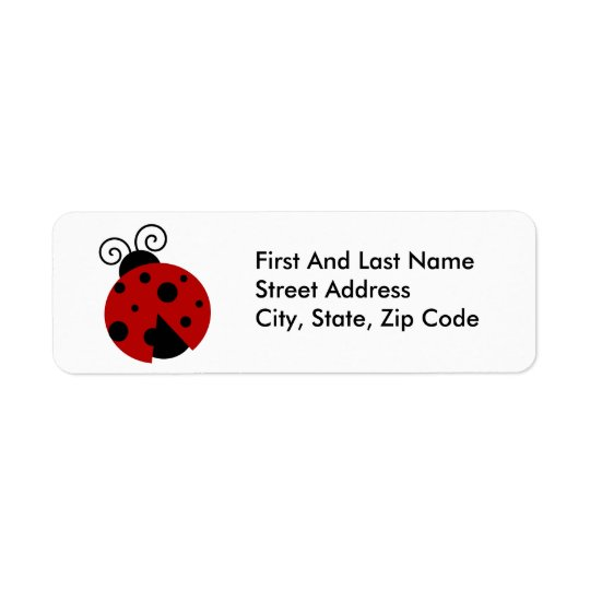 Luck be a Ladybug Cartoon Return Address Label