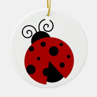 Luck be a Ladybug Cartoon Round Ceramic Decoration