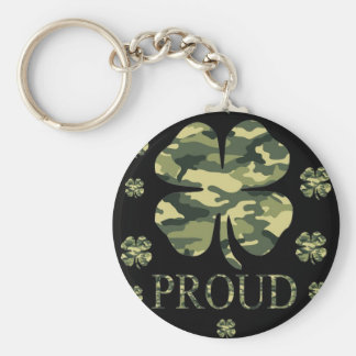 Luck Irish Four leaf clover - Camouflage Key Ring