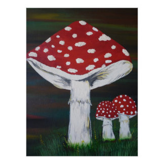 Luck mushroom - fly agaric poster