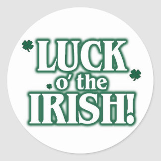 Luck o the irish classic round sticker