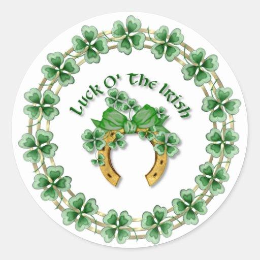 Luck O' The Irish Round Stickers