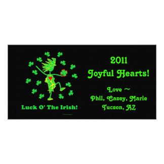 Luck O the Irish Whimsical Design Personalized Photo Card
