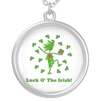 Luck O' the Irish Whimsical Design Round Pendant Necklace