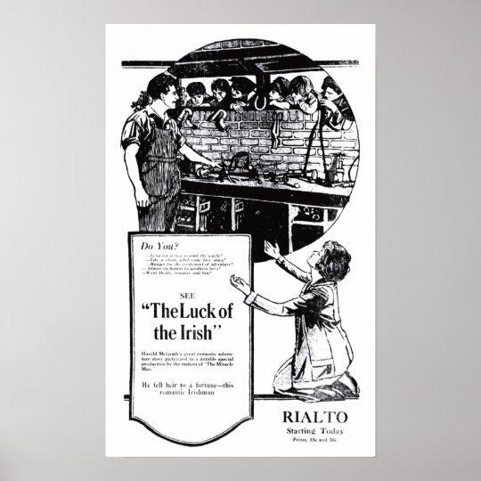 'Luck of the Irish' 1920 vintage movie ad