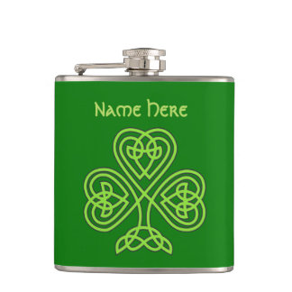 Luck Of The Irish Celtic Knot Shamrock Hip Flask