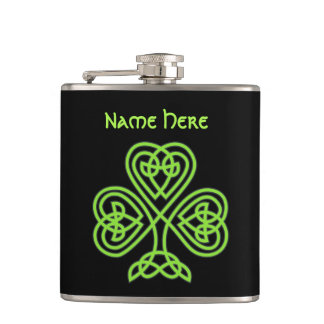 Luck Of The Irish Celtic Knot Shamrock Hip Flask