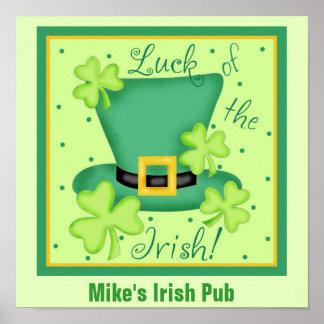 Luck of the Irish Custom Pub Restauran Promotion Poster