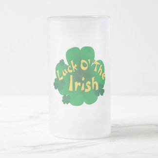 luck-of-the-irish frosted glass beer mug