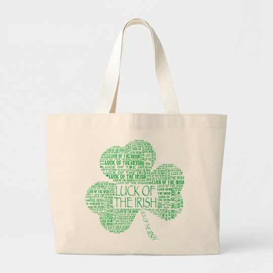 Luck of the Irish Shamrock Large Tote Bag