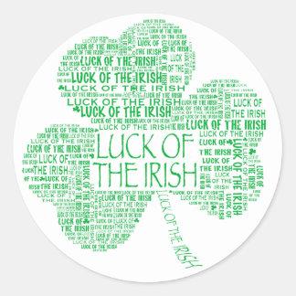 Luck of the Irish Shamrock Round Sticker