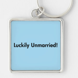 Luckily Unmarried! Silver-Colored Square Key Ring
