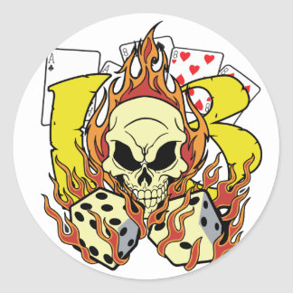 Lucky 13 Dice and Skull Round Sticker