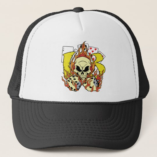 Lucky 13 Dice and Skull Trucker Hat