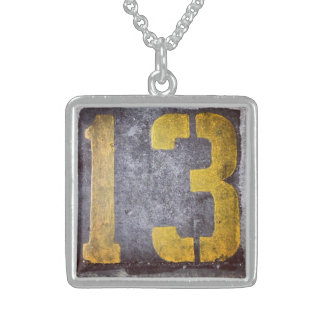 Lucky 13 square pendant necklace