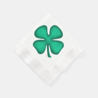 Lucky 4 Leaf Irish Clover coined cocktail napkin Paper Napkins