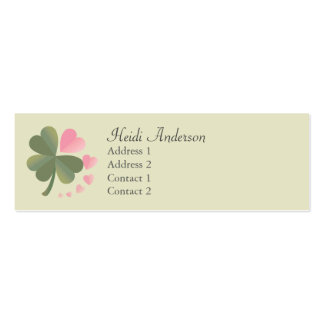 Lucky 4 Leaf Love Clover Skinny Card Pack Of Skinny Business Cards