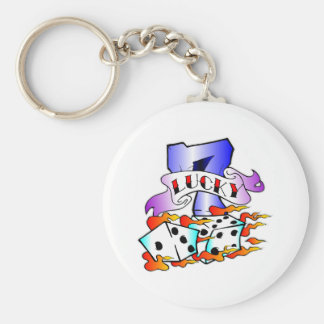 Lucky 7 & Dice Tattoo Basic Round Button Key Ring