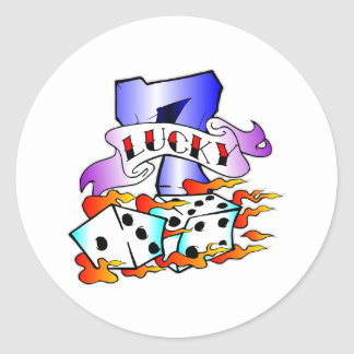 Lucky 7 & Dice Tattoo Classic Round Sticker