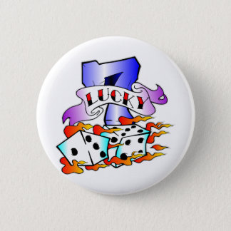 Lucky 7 w/ Dice 6 Cm Round Badge