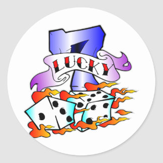 Lucky 7 w/ Dice Classic Round Sticker