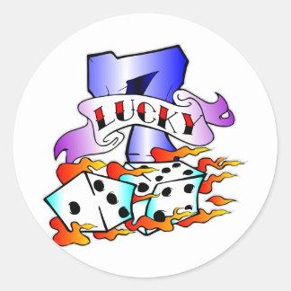 Lucky 7 w/ Dice Round Sticker