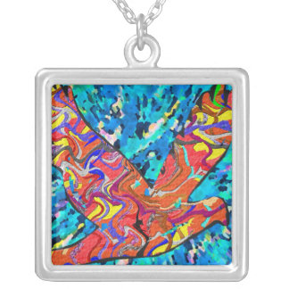 LUCKY Angel Bird Square Pendant Necklace