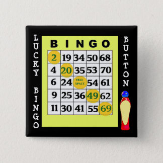 Lucky BINGO Button Green Cards Button