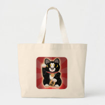 Lucky Black and White Cat Large Tote Bag